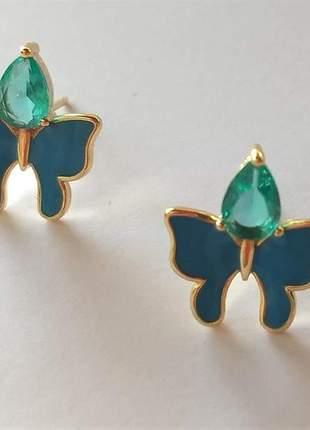 Brinco borboleta resina azul