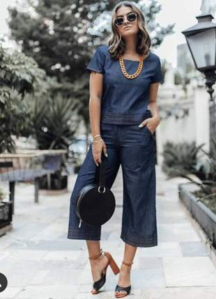 Calca pantacourt jeans