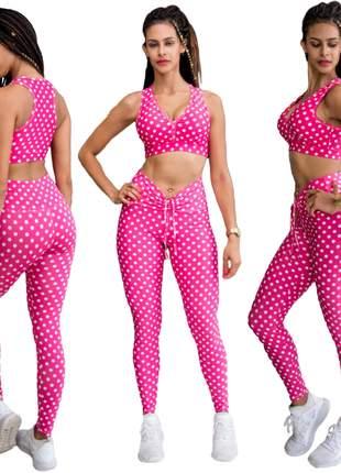 Kit com 3 calças leggings poás - a moda das bolinhas