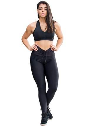 Calça legging feminina fitness de suplex cintura alta e cordão - roupas femininas