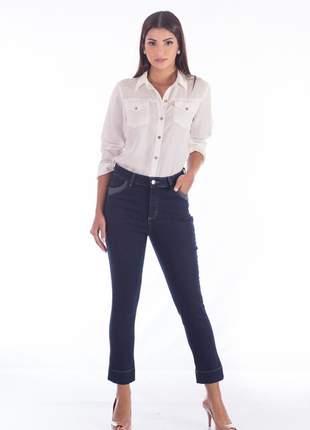 Calça sisal jeans capri dark blue