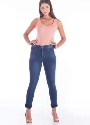 Calça sisal jeans cigarrete skinny confort