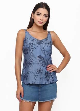 Blusa sisal jeans regata jeans floral azul