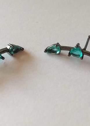 Brinco ródio negro cristais turmalina
