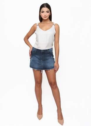 Shorts saia sisal jeans agata dark blue azul