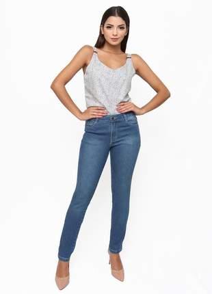 Calça sisal jeans cigarrete skinny morgana