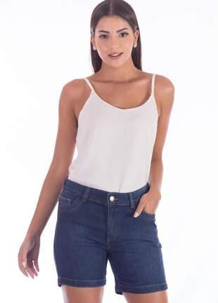 Bermuda sisal jeans meia coxa blue jean