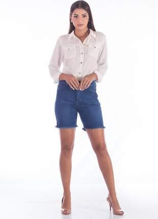 Bermuda sisal jeans meia coxa barra desfiada
