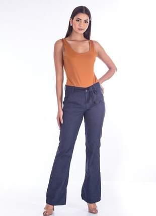 Calça sisal jeans pantalona dark blue jeans