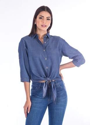 Camisa sisal jeans de amarrar manga 3/4