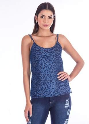 Regata sisal jeans animal print azul
