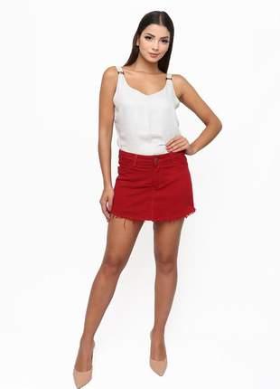 Shorts saia sisal jeans vermelho