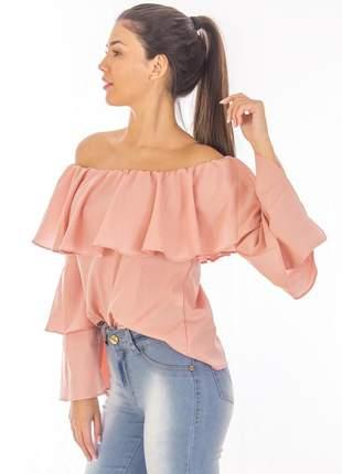 Blusa sisal jeans ciganinha crepe rosa nude
