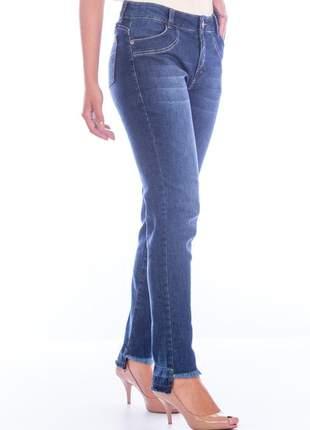 Calça sisal jeans cigarrete skinny blue jeans