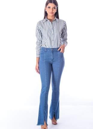 Calça sisal jeans flare blue jeans