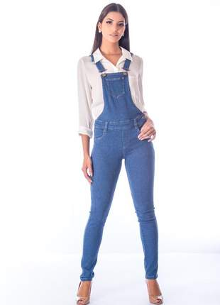 Macacão sisal jeans slim fit blue jeans