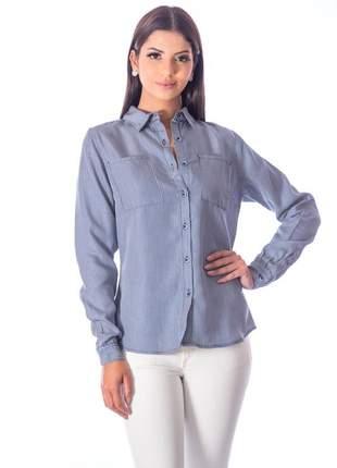 Camisa sisal jeans slim fit listras finas
