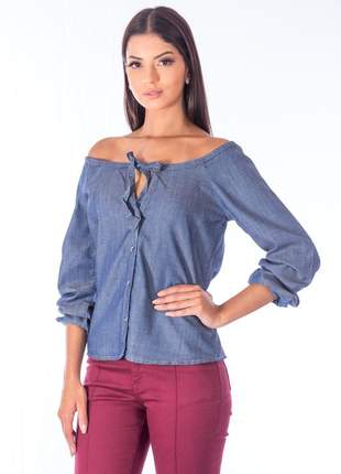 Blusa sisal jeans ciganinha azul jeans
