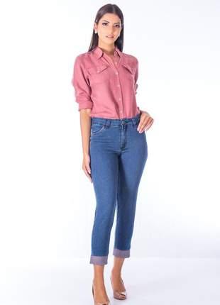 Calça sisal jeans capri avesso azul