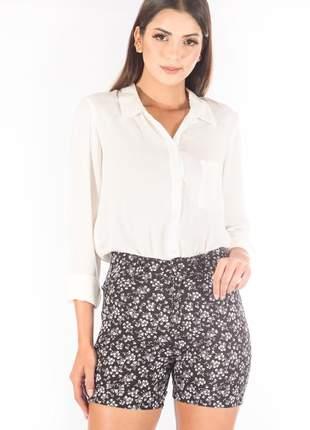 Bermuda sisal jeans meia coxa black floral