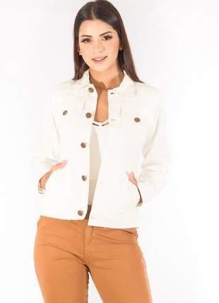 Jaqueta sisal jeans com botões off white