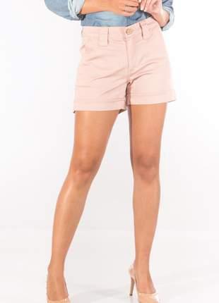 Shorts sisal jeans rosê acetinado