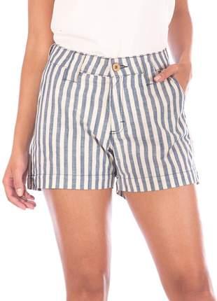 Shorts sisal jeans padrão listrado cru e azul