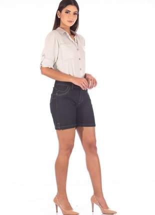 Short sisal jeans meia coxa blue black