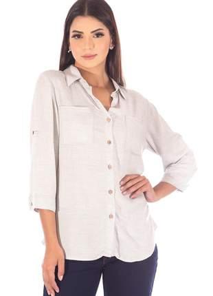 Camisa sisal jeans manga 3/4 cinza mescla