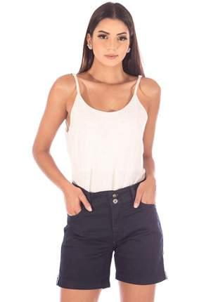 Short sisal jeans meia coxa black com friso