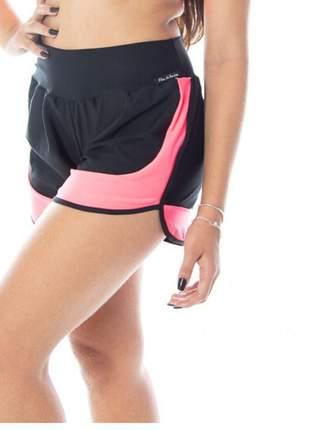 Short corrida feminino preto com rosa