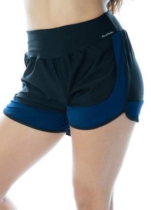 Short corrida feminino preto com azul marinho