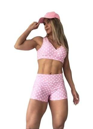 Conjuntinho feminino fitness shorts e top com bojo academia estampa poá