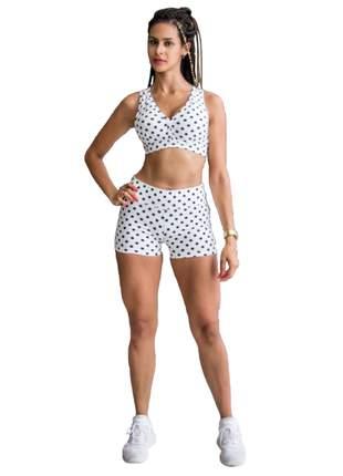 Conjuntinho feminino fitness shorts e top academia suplex poá