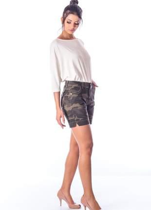 Bermuda sisal jeans meia coxa camuflada