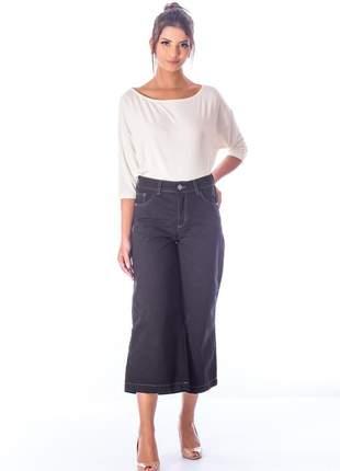 Calça sisal jeans pantacourt preta