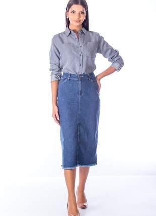 Saia sisal jeans lapis blue jeans azul