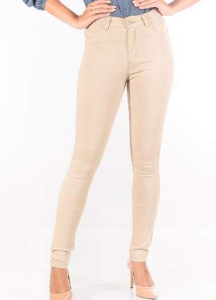 Calça sisal jeans cintura alta bege