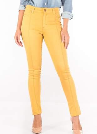 Calça sisal jeans capri mostarda