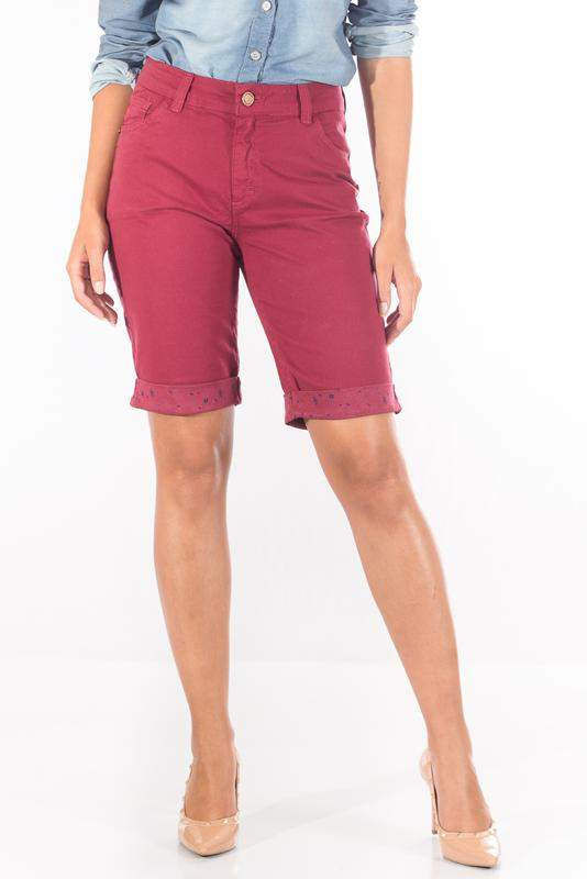 Bermuda sisal jeans ciclista marsala barra
