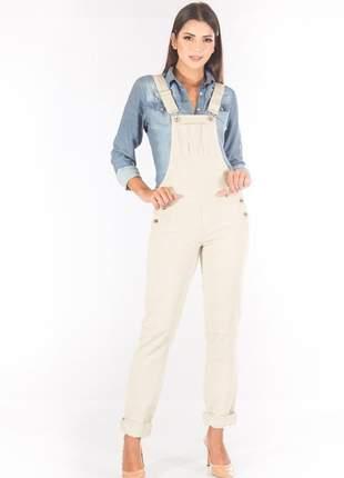 Macacão sisal jeans slim fit bege