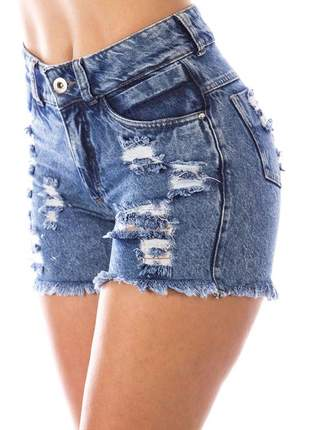 Shorts sisal jeans blue jeans destroyer azul