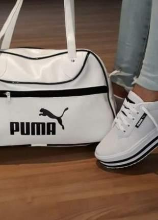 Kit tênis plataforma e bolsa