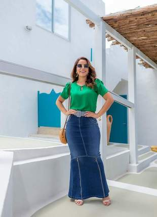Saia jeans longa feminina fenda ziper cinto moda evangelica
