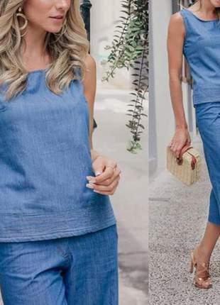 Conjunto jeans blusinha e pantacourt