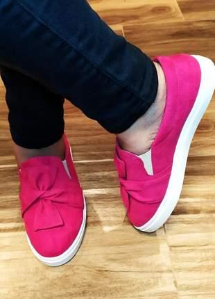 Slip on tenis feminino casual sapatilhas laço coloridos lançamento