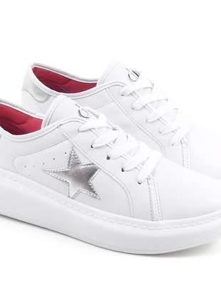 Tênis feminino branco casual barato plataforma moda confortável flatform napa dijean