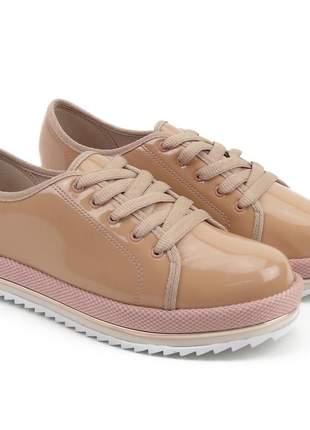 Sapato tênis casual feminino sapatênis beira rio com solado tratorado verniz nude