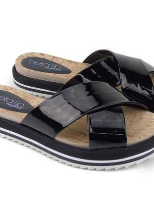 Sandália preta tamanco feminino tratorado anabela