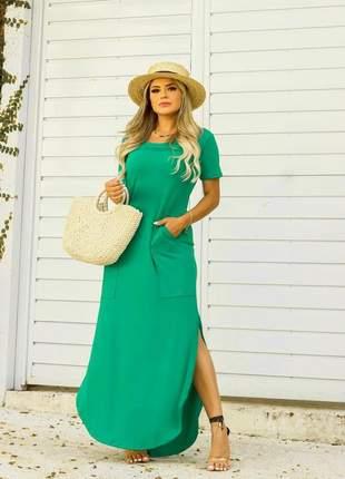 Vestido longo max com fenda na lateral